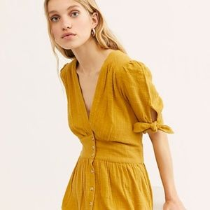 Free People Love Of My Life Midi Dress - Golden